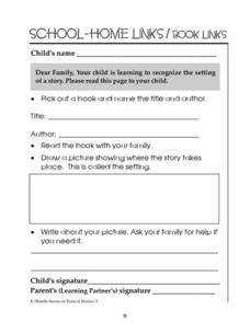 School-Home Links? Book Links 91 Worksheet