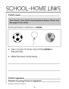 School-Home Links: Circles Worksheet