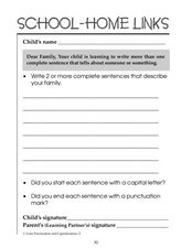 School-Home Links: Describe Your Family Worksheet