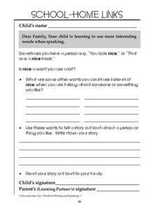 School-Home Links: Interesting Words Worksheet