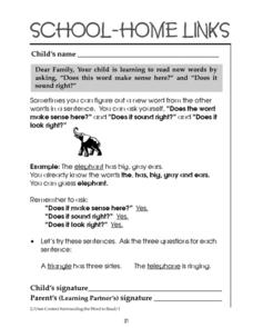 School-Home Links: Learning New Words Worksheet