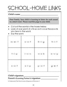 School-Home Links: Listen for Sounds in Short Words Worksheet