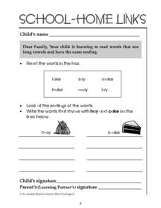 School-Home Links: Long Vowel/Same Endings Worksheet