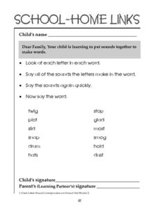 School-Home Links: Putting Sounds Together to Make Words Worksheet