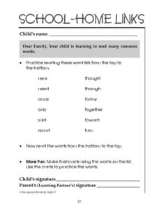 School-Home Links: Reading Common Words 4 Worksheet