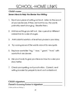 School-Home Links: Revise Your Writing Worksheet