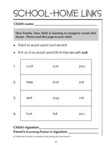 School-Home Links: Rhyming Words Worksheet