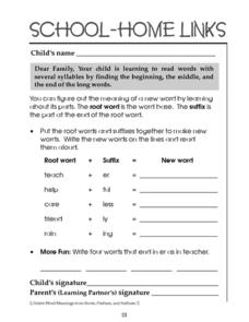 School-Home Links: Root Words and Suffixes Worksheet