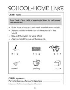 School-Home Links: Sounds in Short Words Worksheet