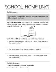 School-Home Links: Table of Contents Worksheet