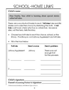 School-Home Links: Tall Tales Worksheet