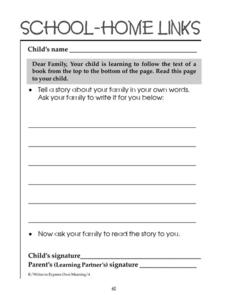 School-Home Links: Tracking Text Top to Bottom Worksheet
