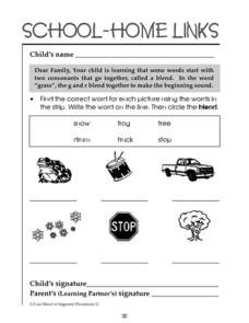 School-Home Links: Word Blends Worksheet
