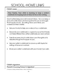 School-Home Links: Writer's Notebook Worksheet