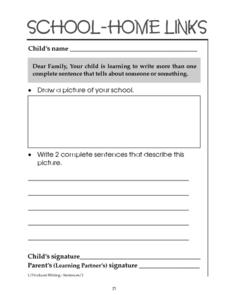 School Home Links: Writing More Than One Complete Sentence Worksheet