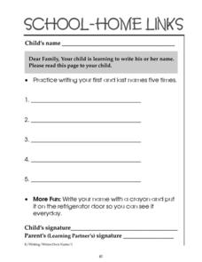 School-Home Links: Writing Your Name Worksheet