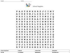 SCHOOL SUPPLIES (WORD SEARCH) Worksheet