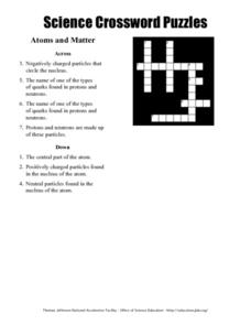 Science Crossword Puzzles - Atoms and Matter Worksheet