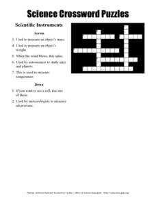 Science Crossword Puzzles: Scientific Instruments Worksheet