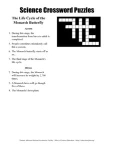 Science Crossword Puzzles - The Life Cycle of the Monarch Butterfly Worksheet