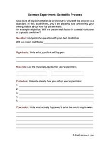 Science Experiment: Scientific Process Worksheet