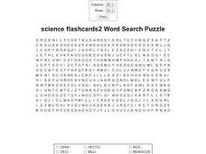 Science Flashcards 2 Word Search Worksheet