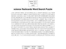 Science Flashcards Word Search Puzzle Worksheet