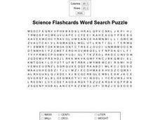 Science Flashcards Word Search Worksheet