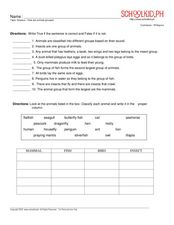 Science - How are Animals Grouped? Worksheet