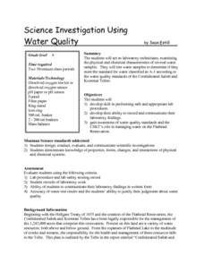 Science Investigation Using Water Quality Lesson Plan