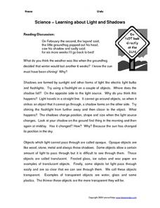 Science--Learning About Light and Shadows Worksheet