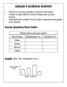 Science Survey Worksheet
