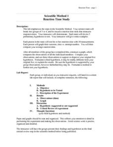 Scientific Method 1: Reaction Time Study Lesson Plan