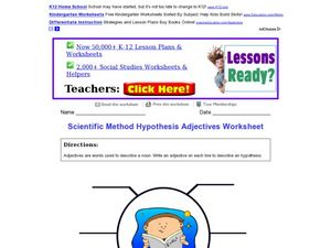 scientific method hypothesis adjectives worksheet worksheet. Black Bedroom Furniture Sets. Home Design Ideas