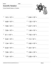 Scientific Notation #2 Worksheet