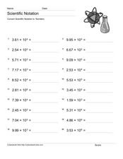 Scientific Notation: Decimal Numbers and Powers of Ten Worksheet