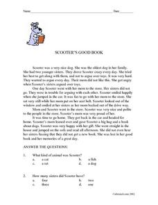 Scooter's Good Book Worksheet