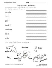 Scrambled Animals Worksheet