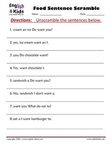 Scrambled Food Sentences Worksheet