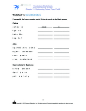 Scrambled Letters- Expressing Future Time Worksheet