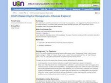 Searching for Occupations- Choices Explorer Lesson Plan