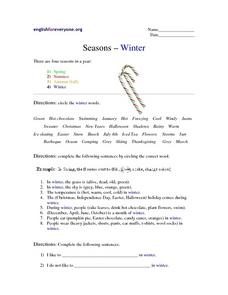 Seasons--Winter Worksheet