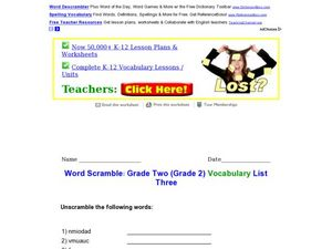 Second Grade Vocabulary Word Scramble 3 Worksheet