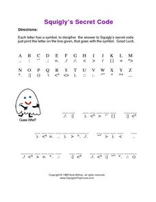 Secret Code from Squigly Worksheet