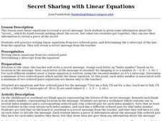 Secret Sharing with Linear Equations Lesson Plan