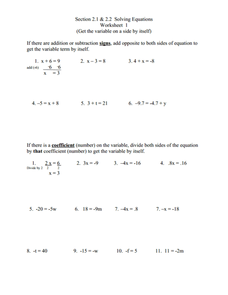 Section 2.1 & 2.2 Solving Equations Worksheet