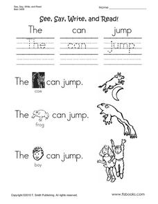 See, Say, Write and Read Worksheet
