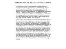 Seeking Poem, Sharing Connections Lesson Plan