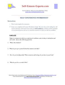 Self Confidence Worksheet 6th - 12th Grade Worksheet ...