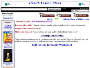 Self Esteem Inventory Lesson Plan